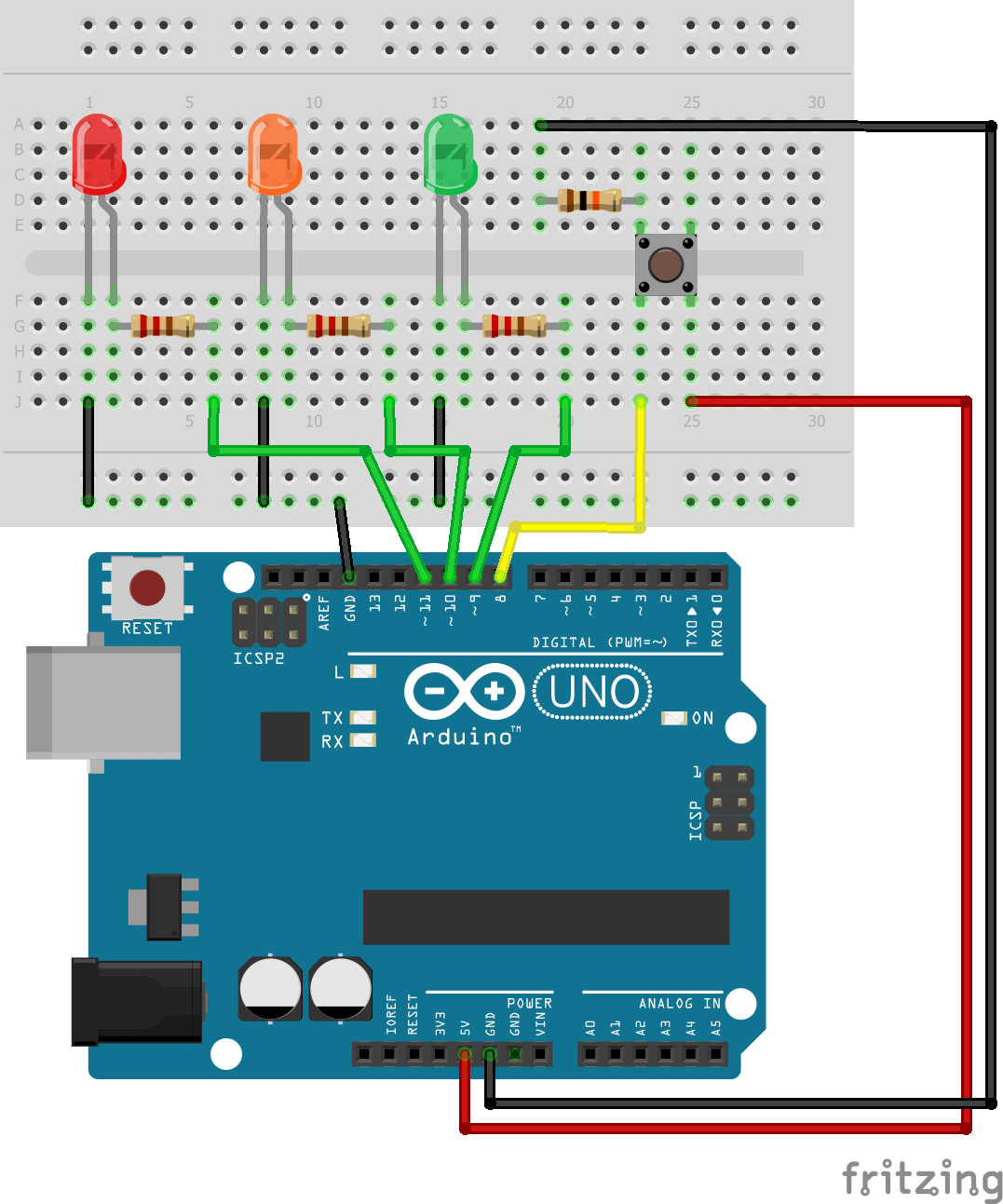 pin 7 arduino 2007 club car precedent wiring diagram control 3 leds with and one pushbutton  aranacorp