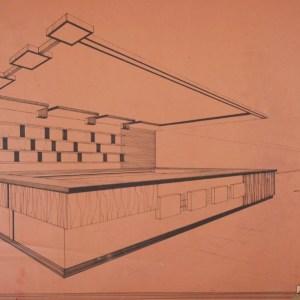 Comptoir au design moderne des années 70