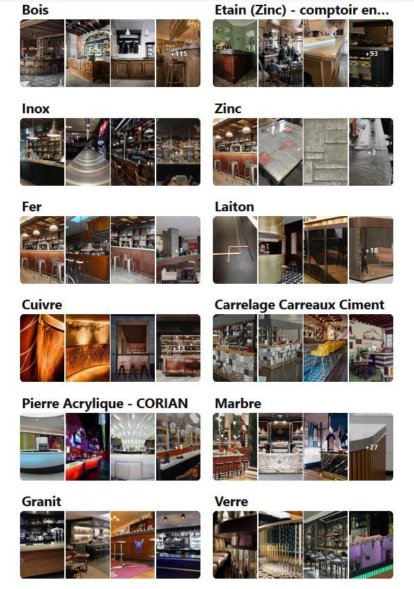 bibliothèque de matériaux pour bar