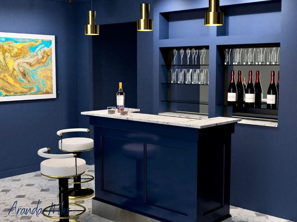 Home Bar avec comptoir en marbre de Calacatta
