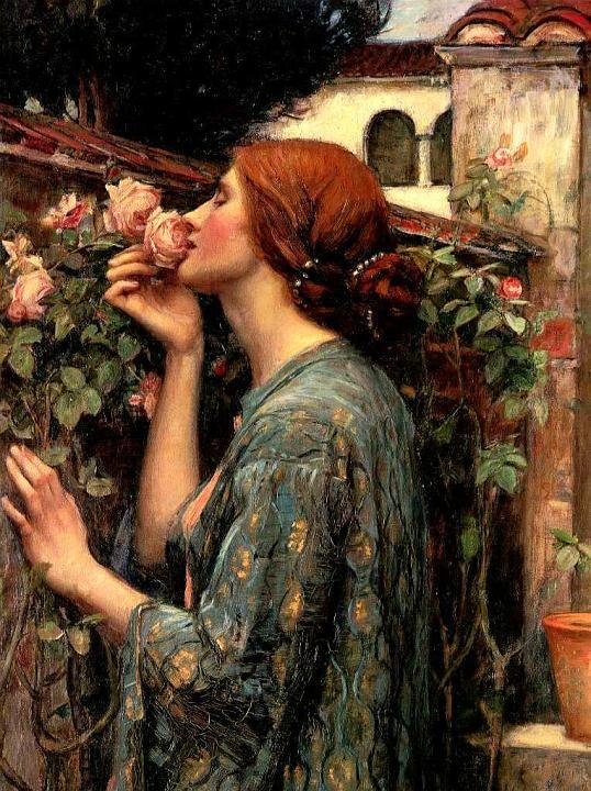 Arte prerrafaelita: The soul of a rose de John William Waterhouse
