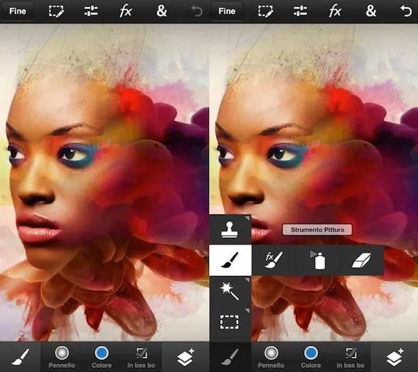 Скриншот, показывающий Photoshop Touch на iPhone