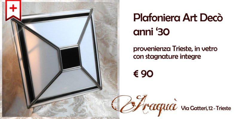 Plafoniera Art Decò anni 30 provenienza Trieste in vetro con stagnature integre - € 90