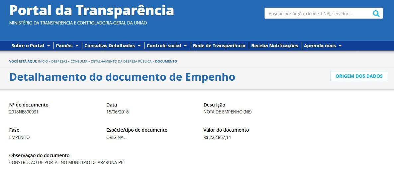 empenho portal valor  Deputado Aguinaldo Ribeiro empenha 222 mil para construção do Portal na entrada de Araruna empenho 20portal 20valor