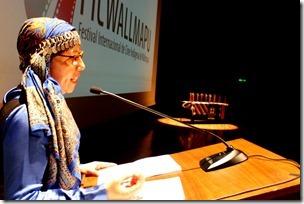 Jeannette Paillan (directora de ficwallmapu) en inauguracion 22 noviembre