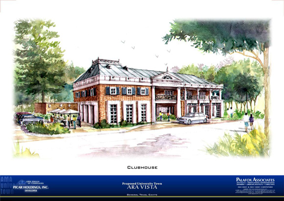 An artist's rendition of the proposed clubhouse area.  Photo from the Ara Vista website.