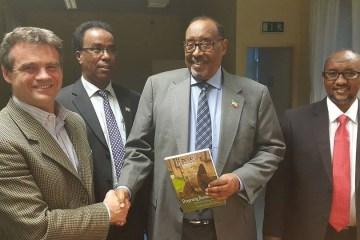 Michael D Higgins Madaxweyaha Ireland oo qasrigiisa ku qaabilay Madaxweynaha Somaliland Axmed Silanyo