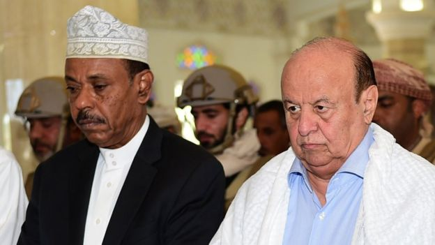 Aden Governor Jaafar Mohammed Saad (left ) was a close ally of Yemeni President Abdrabbuh Mansour Hadi (right)