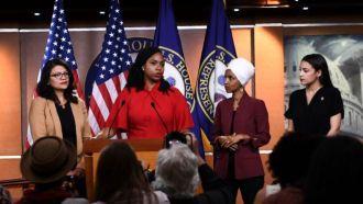 Rashida Tlaib, Ayanna Pressley, Ilhan Omar and ALexandria Ocasio-Cortez responded to the atacks at a press conference on Monday
