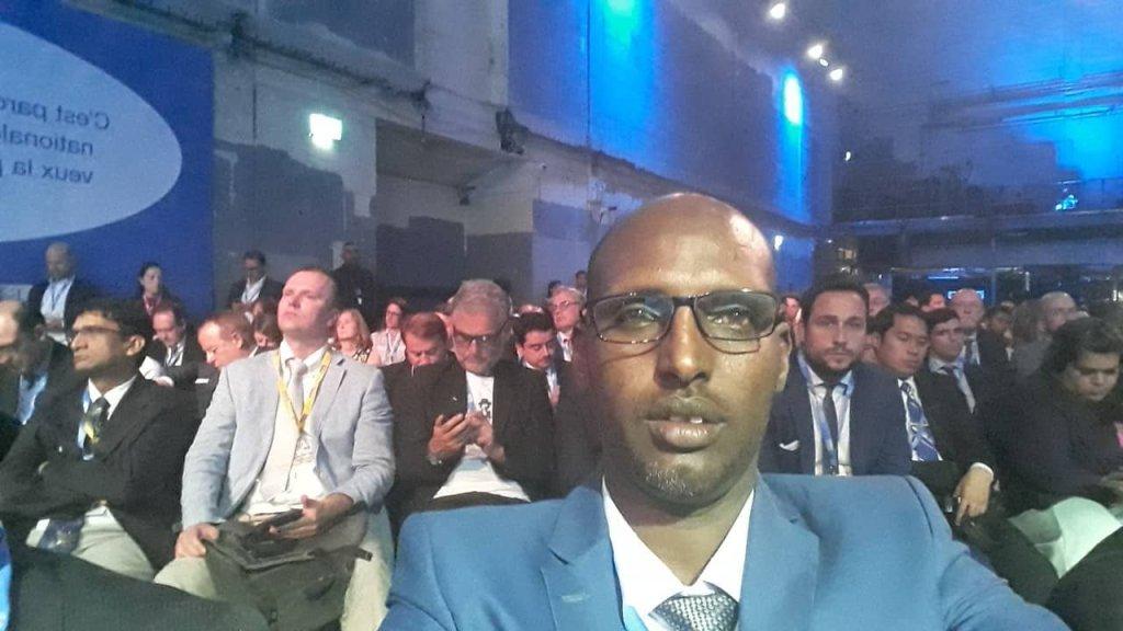 Guddoomiyaha SOLJA, Maxamuud Cabdi Jaamac (Xuuto) oo fadhiya shirka Media Defend Freedom 10 July 2019 London Araweelo News Network