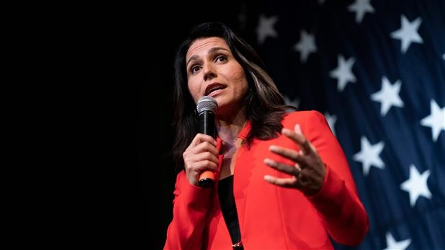 2020 Democratic presidential hopeful US Representative for Hawaii's 2nd congressional district Tulsi Gabbard speaks at the Wing Ding Dinner on August 9, 2019 in Clear Lake, Iowa. (Photo by AFP