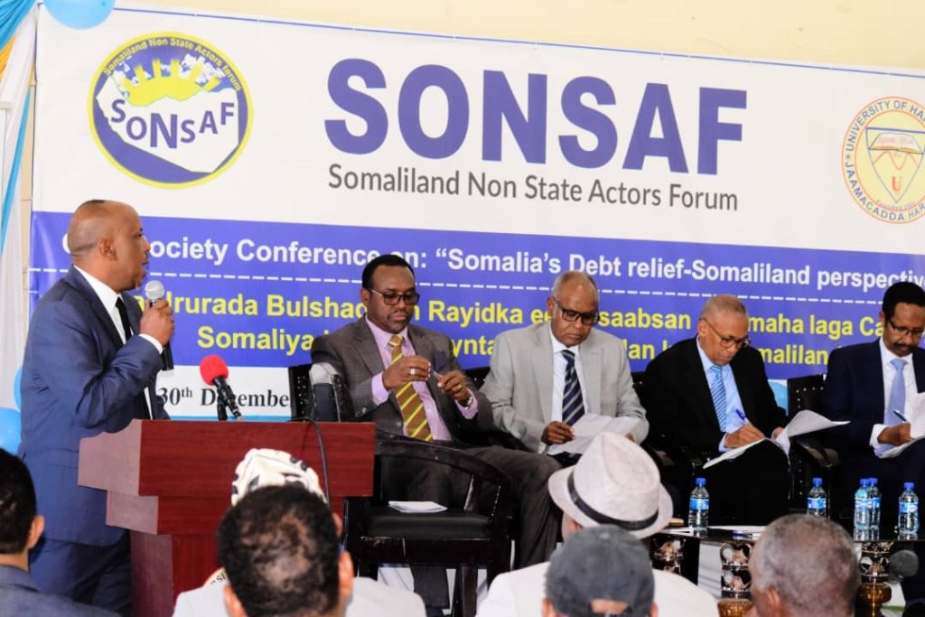 Mr Anwar Abdurrahman Warsame, the chairman of SONSAF the Debt Relief Conference attendees on 30th of December 2019.