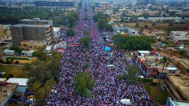 "Iraqi people gather in the capital Baghdad for a ""million-strong"" march to demand an end to the presence of US forces in their country, on January 24, 2020."