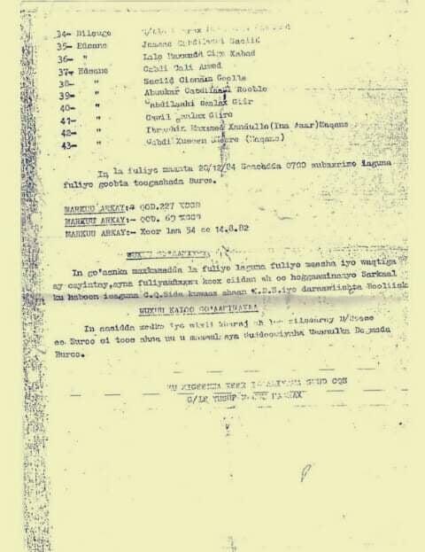Go,aanka 43 qof oo magaalada Burco ku xasuuqay December 1984, 7:00 subaxnimo ayaa lagu toogtay Kaabadda Madaarka Burco. Araweeelo News Network