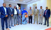Somaliland President Muse Bihi Abdi and members of the Somaliland National Electoral Commission Image file Araweelo News Network.