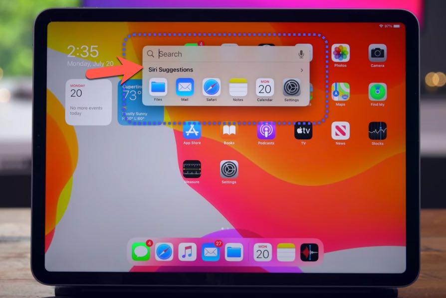 البحث في iPadOS 14