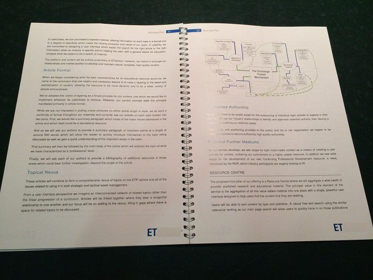 ETF business plan