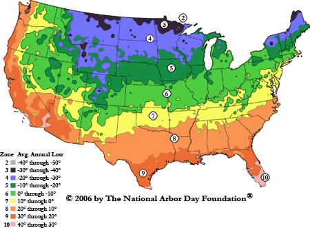 Arbor Day Foundation Hardiness Map 2006