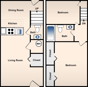 2 Bed / 1½ Bath / 815 sq ft / Deposit: $300 / Rent: $775