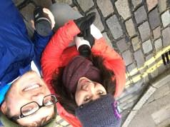 ...on a cobblestone street!!