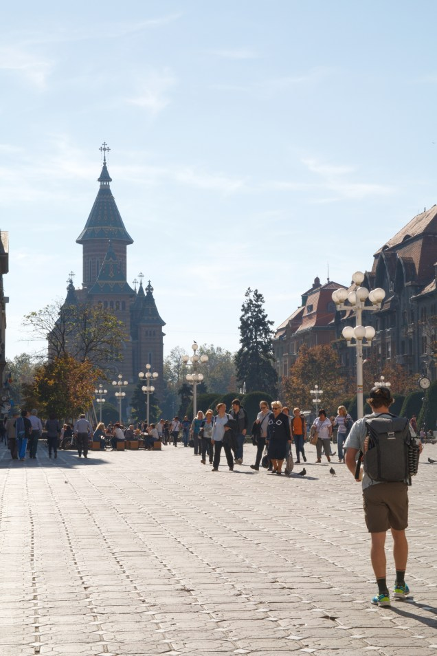 Timisoara, cathedral, man looking at cathedral, eastern Europe, arboursabroad