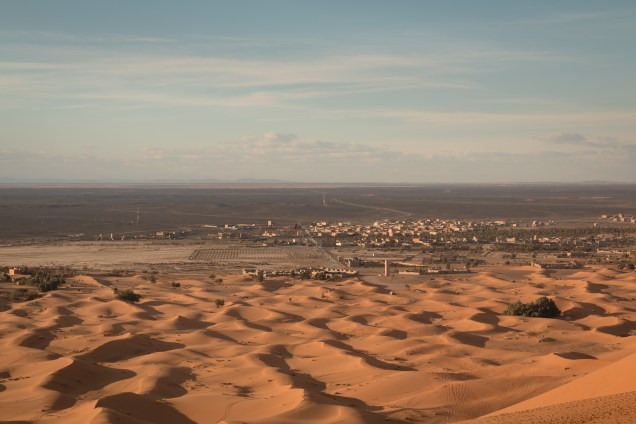 Sand dunes with Merzouga, Morocco, desert towns, arboursabroad