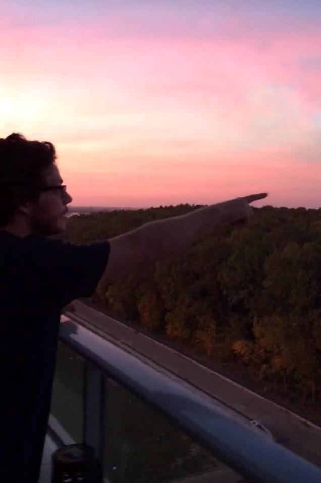 Timisoara, Romania, sunset, man on balcony, arboursabroad