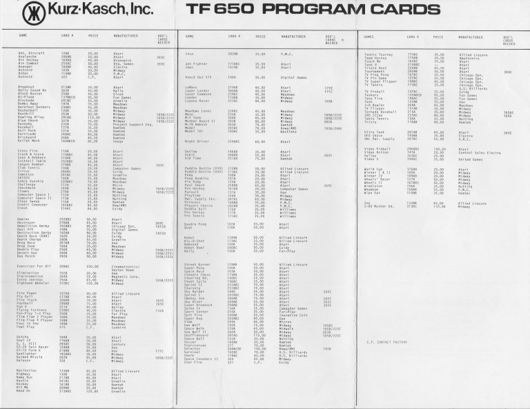 Kurz-Kasch TF 650 catalog of program cards