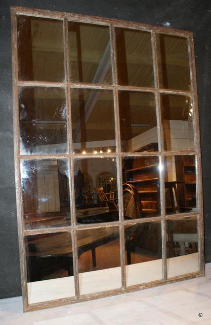 Antique Metal Window Mirror