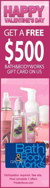 Get a Free $500 Bath & Body Works Gift CardClick here for details...