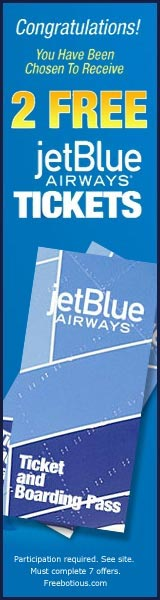Get a 2 FREE jetBlue Airways TicketsClick here for details...
