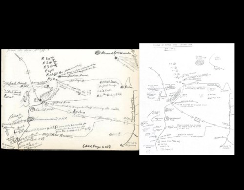 small resolution of map of the battlefield left original by cumberland on page 664 of the diary right recreation by son william credit cwm archives archives du mcg