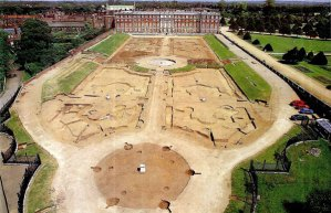 Hampton Court Palace and the Privy Garden.