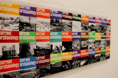 Photograph of Current Archaeology magazine front covers, printed on a canvas