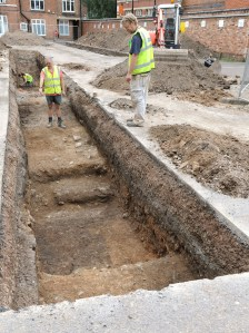Medieval masonry begins to emerge in trench 2. Image: University of Leicester