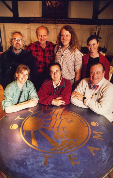 The beginnings of Time Team: season 1 stalwarts (from left to right) Mick Aston, Victor Ambrus, Phil Harding, Geraldine Barber, Carenza Lewis, Tony Robinson, and Robin Bush.