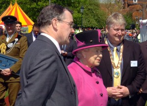 As part of her Diamond Jubilee celebrations, HM the Queen was presented with a selection of flints from Vespasian's Camp (seen carried by the officer behind)