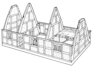A typical Midlands cruck house, showing pairs of cruck blades rising from the sill beam at ground level to the apex of the roof in one sweep. The central bay is an open hall, with service bay to the left and a two-storeyed chamber bay to the right. Drawing by Bob Meeson