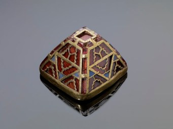 A gold and garnet sword pommel, newly cleaned by specialist conservators. Photo: Birmingham Museums