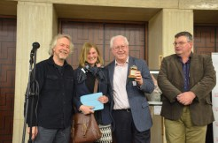Prof Michael Fulford (2nd L) University of Reading, poses with Amanda Clarke (2nd L), site director of the Silchester Town Life Project, and his 2015 Current Archaeology Award for Archaeologist of the Year (sponsored by Andante Travels). It was presented by Julian Richards of Meet the Ancestors (L)