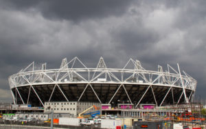 The Olympic Stadium under construction
