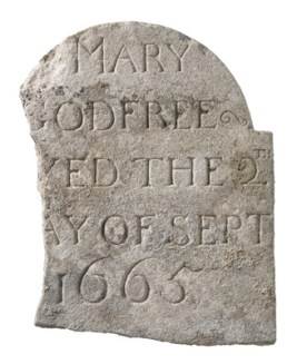 Archaeological work at Liverpool Street revealed multi-period burials. The gravemarker of Mary Godfree, who died in the 17th century, was reused in an 18th-century structure.