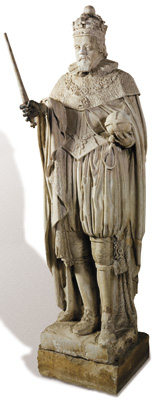 Regular royal visitor: this statue of James I, carved in 1622-1624, originally stood over the north doorway of the south range in full view of visitors (including the king himself) arriving through the gatehouse. It was moved indoors to the east loggia in 1742.