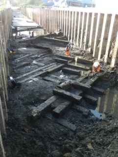 Excavating the well-preserved slipway at Thames Iron Works, part of the shipyard that built the first iron-hulled, iron-armoured warship, and was involved in civil engineering projects including Brunel's Royal Albert Bridge.