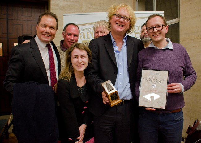 Members of the University of Buckingham team accept the Research Project of the Year 2018 award [Photo Credit: Current Archaeology]