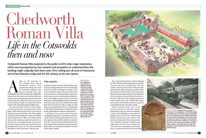 In CA 284, Chris Catling delved into the various interpretations of the villa proposed over the years, and investigations on the site since the 1860s.