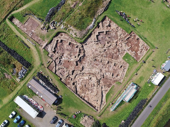 An aerial view of the Ness of Brodgar. This season of excavation was as fruitful as ever.