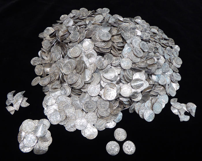 Found in Somerset farmland, the Chew Valley hoard is the largest-known coin hoard dating from the immediate aftermath of the Norman Conquest. This photo shows just a sample of its more than 2,500 coins.