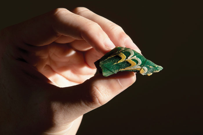 Unusual glass fragment, probably from a fish-shaped bottle. Recovered from Chedworth Roman Villa back in 2017.