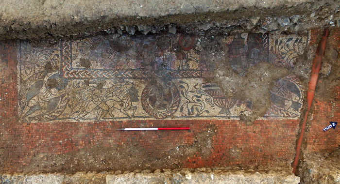 A section of the mosaic showing the legend of Bellerophon and Chimaera